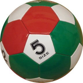 Size 5 Green, Red & White Panel Soccer Ball