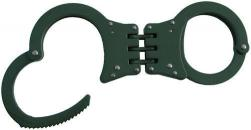 Green Hinged Double Lock Handcuffs